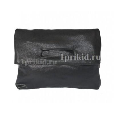 Клатч сумка кожзаменитель цвет чёрный 26x3x19см/3261