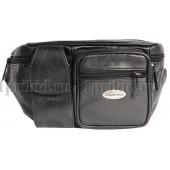 Поясная сумка мужская кожаная натуральная кожа 37x5x12см/34521 цвет чёрный