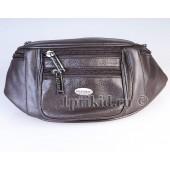 Кожаная мужская сумка на пояс натуральная кожа 38x7x12см/34522 цвет коричневый