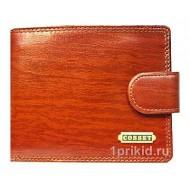 Портмоне Cosset мужской коричневый натуральная кожа 11x9см/5464