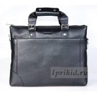 PRENSITI сумка мужская натуральная кожа 37x9x28см/6571 цвет чёрный