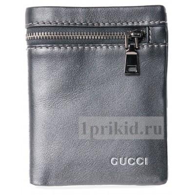 GUCCI (гучи) кошелек мужской чёрный натуральная кожа 9x12см/89036