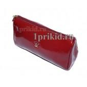 Женская косметичка CHANEL натуральная кожа цвет красный 20x7x12см/9033