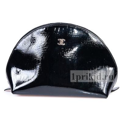 Косметичка CHANEL натуральная кожа цвет чёрный 24x9x16см/90545