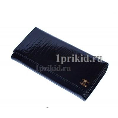 Кошелёк CHANEL CB женский чёрный натуральная кожа 19x10см/001