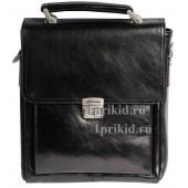 Albatross мужская сумка натуральная кожа цвет чёрный 22x7x27см/8947