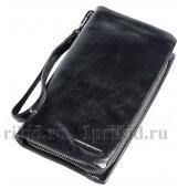 ARMANI(Армани) барсетка кошелек натуральная кожа цвет чёрный 21x4x11см/56723