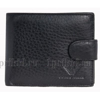 ARMANI (Армани) Мужской кошелек мужской чёрный натуральная кожа 11x9см/89063