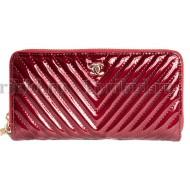 CHANEL(Шанель) кошелек на молнии женский бордовый натуральная кожа 19x2x10см/67777