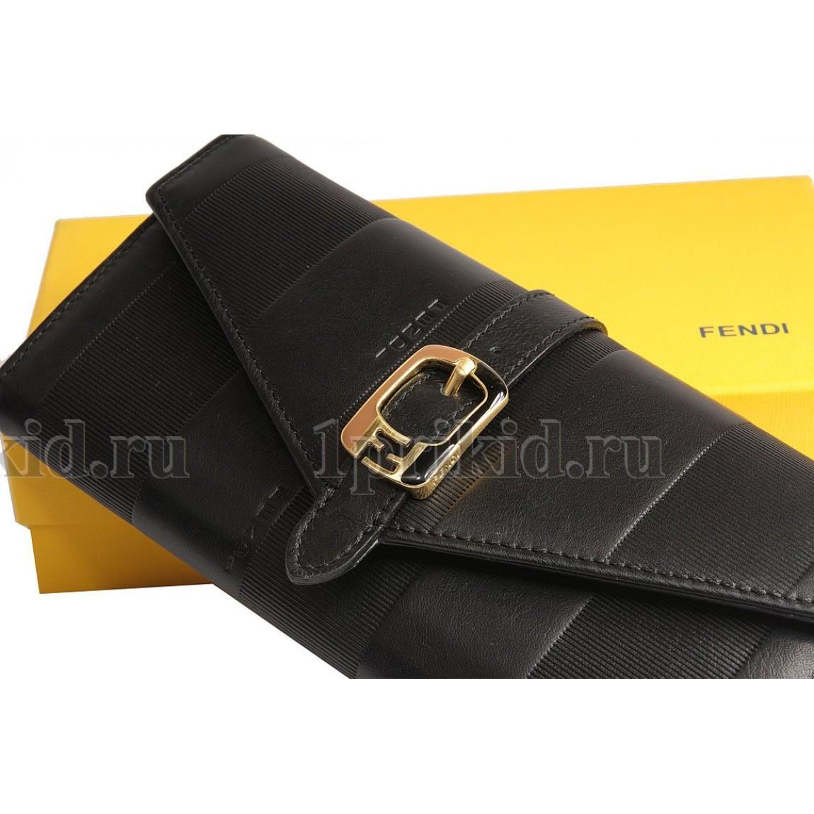 f5a277f6d24b FENDI кошелек женский чёрный натуральная кожа 19x9см/24563 купить в ...