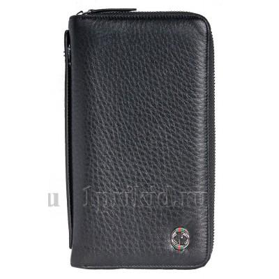 GUCCI(Гуччи) кошелек клатч мужской чёрный натуральная кожа 21x2x11см/90334