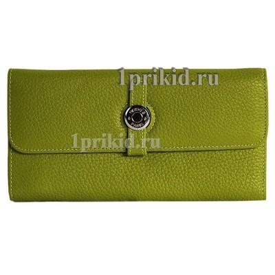 Hermes кошелёк женский салатовый натуральная кожа 19x9см/4310