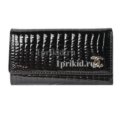 Ключница Chanel натуральная кожа цвет чёрный 7x12см/9043