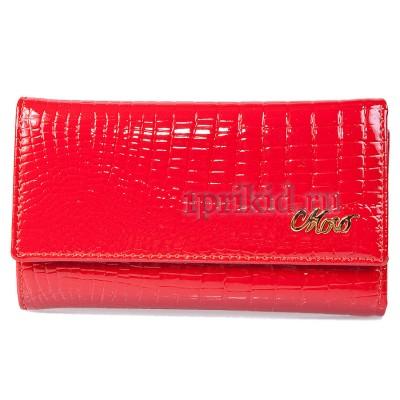 Ключница натуральная кожа цвет красный 7x12см/43550