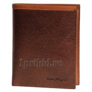 Коричневый кошелек S.FERRAGAMO мужской коричневый натуральная кожа 10x12см/4563