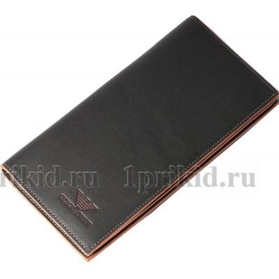 Кошелек ARMANI(Армани) мужской чёрный натуральная кожа 19x9см/54045