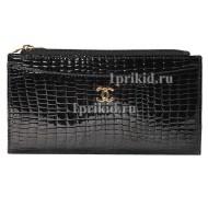 Кошелёк CHANEL женский чёрный натуральная кожа 9x17см/6731
