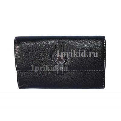 Кошелёк Hermes женский чёрный натуральная кожа 15x10см/03314
