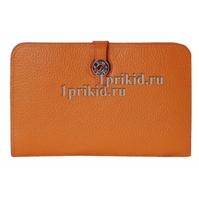 Кошелёк Hermes женский оранжевый натуральная кожа 20x12см/0572