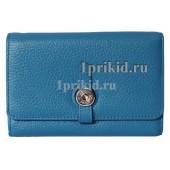 Кошелёк HERMES женский синий натуральная кожа 15x10см/5576