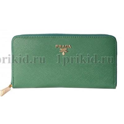 Кошелек PRADA(Прада) женский зелёный натуральная кожа 20x2x10см/89459