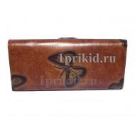 Кошелёк WANLIMA женский коричневый натуральная кожа 19x9см/5452