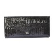 Кошелёк WANLIMA женский чёрный натуральная кожа 19x9см/01389