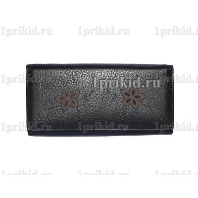 Кошелёк WANLIMA женский чёрный натуральная кожа 19x9см/1388