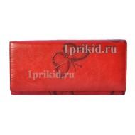 Кошелёк WANLIMA Red женский красный натуральная кожа 19x9см/1463