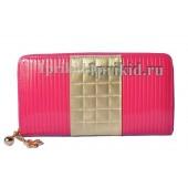 Кошелек женский розовый натуральная кожа 20x10см/9121