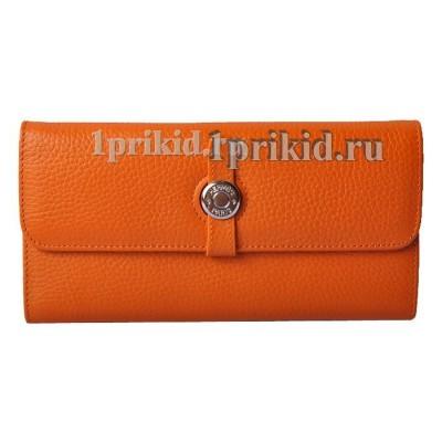Кошелёк Hermes женский оранжевый натуральная кожа 19x10см/05119