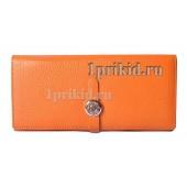 Кошелёк Hermes женский оранжевый натуральная кожа 19xсм/0514
