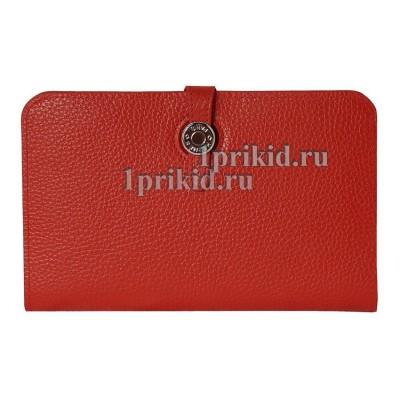 Кошелёк Hermes женский красный натуральная кожа 20x12см/0578