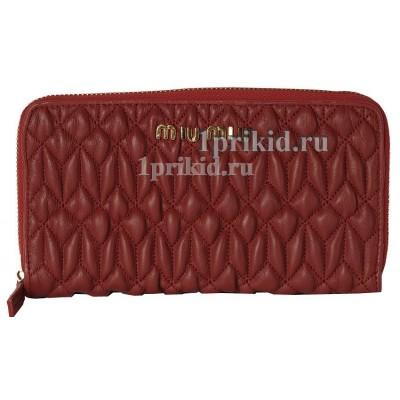 Кошелёк MIU MIU женский красный натуральная кожа 19x10см/5553