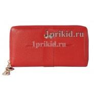 Кошелёк Moro Jenny женский красный натуральная кожа 20x10см/1178