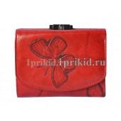 Кошелёк WANLIMA женский красный натуральная кожа 11x10см/1642