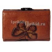 Кошелёк Wanlima женский коричневый натуральная кожа 13x9см/7089