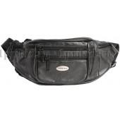 Кожаная мужская сумка на пояс натуральная кожа 33x7x12см/64732 цвет чёрный