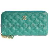 Кожаный кошелек CHANEL женский бирюзовый натуральная кожа 19x2x10см/53629