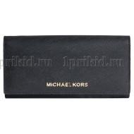 MICHAEL KORS (Майкл Корс) кошелек женский чёрный натуральная кожа 19x10см/54635