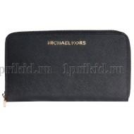 MICHAEL KORS (Майкл Корс) кошелек женский чёрный натуральная кожа 19x2x10см/54677