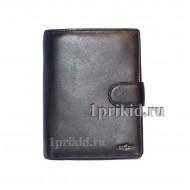 Мужское портмоне Cosset мужской чёрный натуральная кожа 10x14см/1704