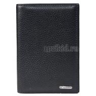 Обложка для паспорта натуральная кожа цвет чёрный 10x14см/22530