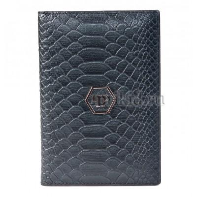 Обложка для паспорта натуральная кожа цвет серый 10x14см/456756