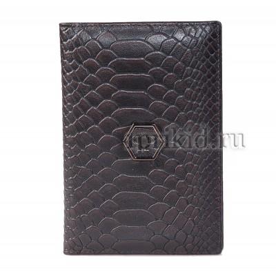 Обложка для паспорта натуральная кожа цвет коричневый 10x14см/625456