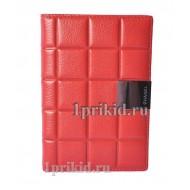 Обложка CHANEL натуральная кожа цвет красный 10x14см/0741