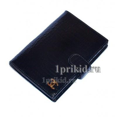 Обложка CHANEL натуральная кожа цвет чёрный 10x14см/9013