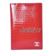 Обложка CHANEL C натуральная кожа цвет красный 10x14см/007