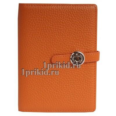 Обложка для документов HERMES натуральная кожа цвет оранжевый 10x14см/0458