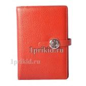 Обложка Hermes натуральная кожа цвет красный 10x14см/0403